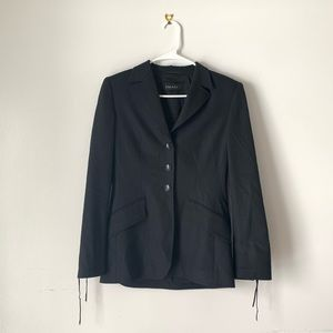 Escada Black Lace Goth Trendy Designer Blazer Top